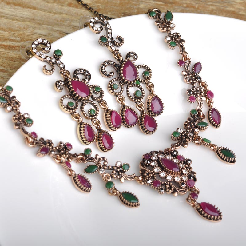 Turkish Flower Necklace Earring Sets Red Pendants Chains Acrs