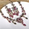 Turkish Flower Necklace Earring Sets Red Pendants Chains Acrylic Stones Choker Vintage Women Wedding African Beads Jewelry Set