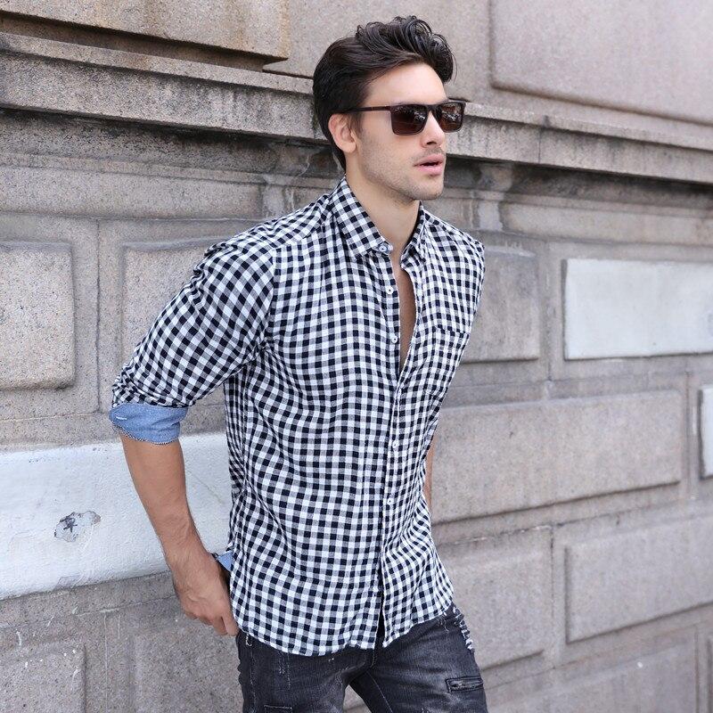 2018 herbst Mode Männer Hemd Lange Sleeves Soft Fühlen Plaid Einfarbig Herren Kleid Shirts Dünne Männer Casual Männlichen Shirts s-XXL