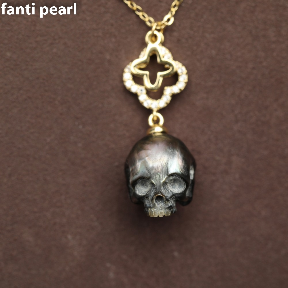 1 pcs skull carved pearl necklace tahiti pearl necklace 11-13mm handmade1 pcs skull carved pearl necklace tahiti pearl necklace 11-13mm handmade