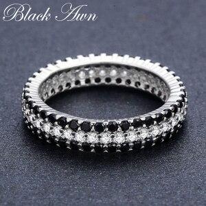 Image 3 - [BLACK AWN] Anillo de Plata de Ley 925 Vintage para mujer, espinela negra redondos de anillos de compromiso, joyería de plata de ley C443