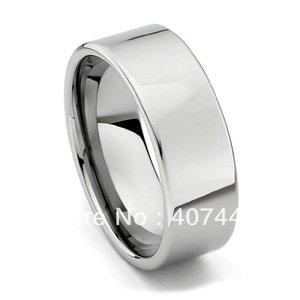 Image 1 - Envío Gratis, compra barata, gran oferta de Estados Unidos, Brasil, Rusia, 8mm, tubo de plata pulido, anillo de carburo de tungsteno cortado, banda de boda para hombres