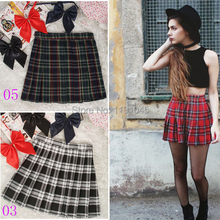 2017 Hot Midi Pleated Women Skirts High Waist Red  A-Line Short Skirts Uniforms School Tartan Plaid Skirt Saias
