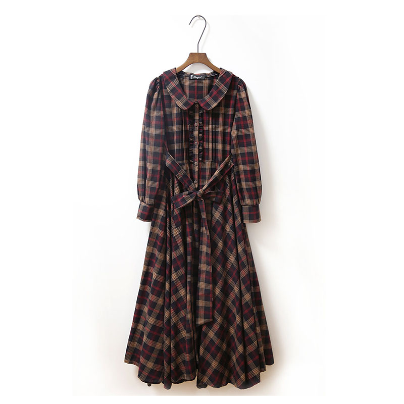 British Preppy Style Brown Plaid Dress Vintage Mori Girl Peter Pan Collar Casual Large Size Long
