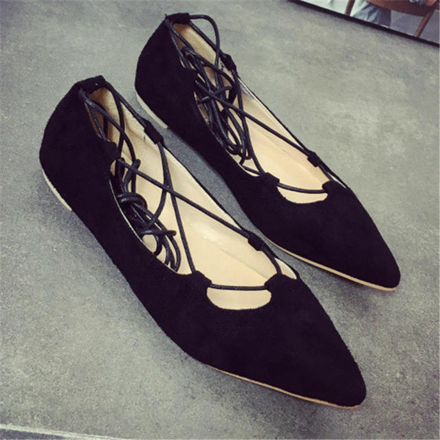 Korean Style Fashion Pointy Toe Shoes Women Sexy Strappy Flat Shoes