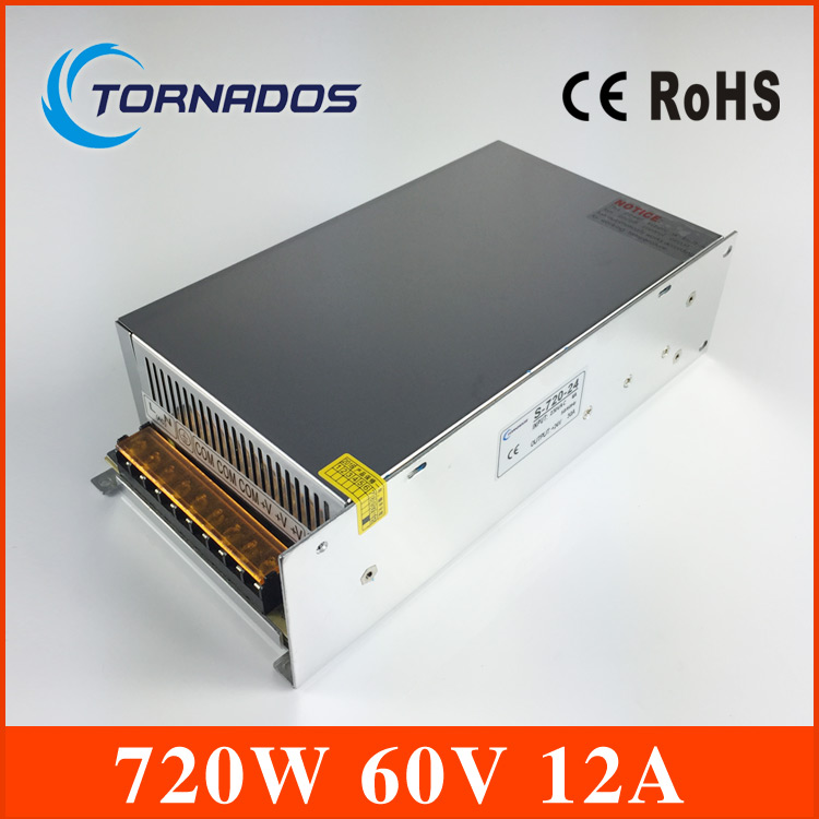 S-720-60 DC Power Supply 60V 12A 720W Switching Power Supply Transformer AC110V 220V TO DC 60V apply to Laser engraving machine cps 6011 60v 11a digital adjustable dc power supply laboratory power supply cps6011