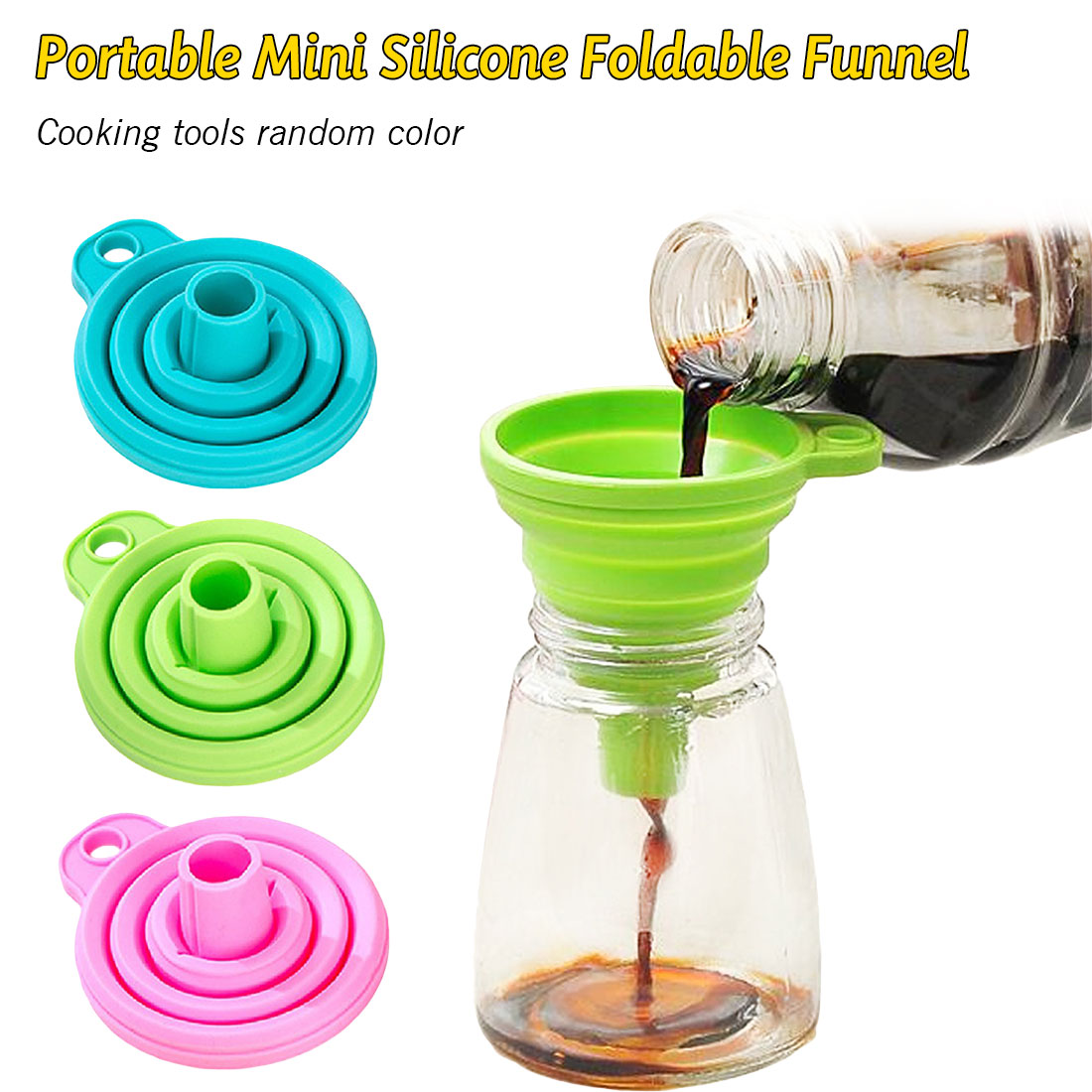 Collapsible Style Funnel Hopper Protable Mini <font><b>Silicone</b></font> Gel Foldable <font><b>Kitchen</b></font> Cooking <font><b>Tools</b></font> Accessories Gadgets image