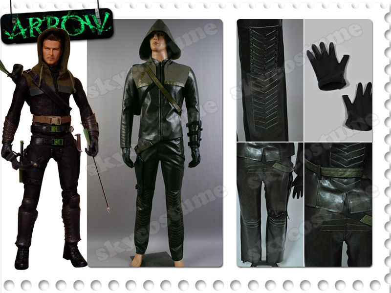 Green Arrow Oliver Queen Cosplay Costume Leather Outfit Suit Halloween Cosplay Costume Uniform Full Set For Men Hot TV