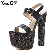 ФОТО sexy high heels women sandals 17cm heels sexy shoes suede peep toe women shoes size 34-40