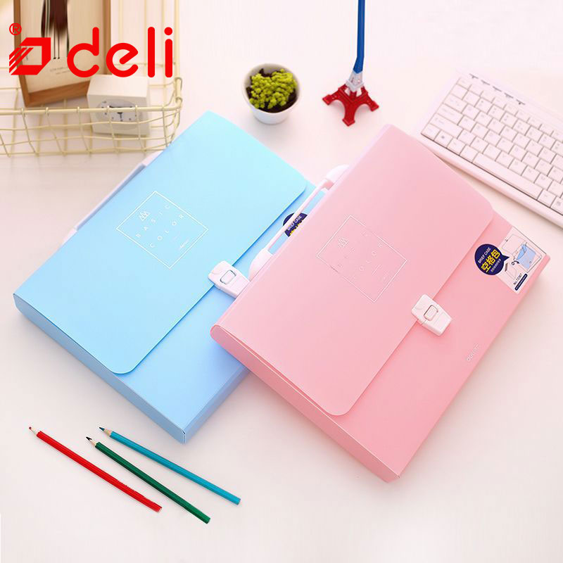 Deli File Folder stationery A4 waterproof Expanding Wallet Convenient Manage Holder Document expanding wallet school supplies simple plastic 5 section index band folder document file storage organizer filling stationery a4 size expanding wallet 4 colors