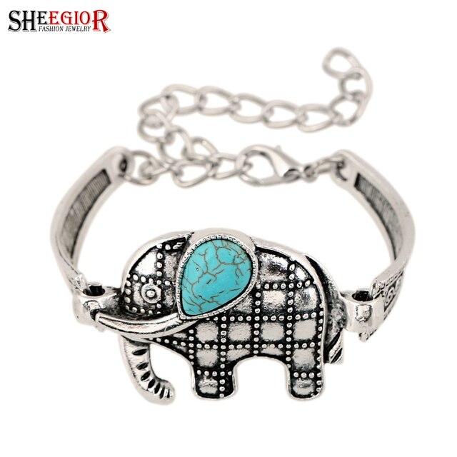 SHEEGIOR Vintage Blue Stone Bracelets Women Love Silver color Cute Hand Tortoise Owl Elephant Cuff Bracelet Men Fashion Jewelry