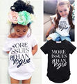 2016 Children Kids Girls Tops Clothing Outfits Summer Letter Print Short Sleeve Tops Casual White Black T-shirt Clothes 2-7Y
