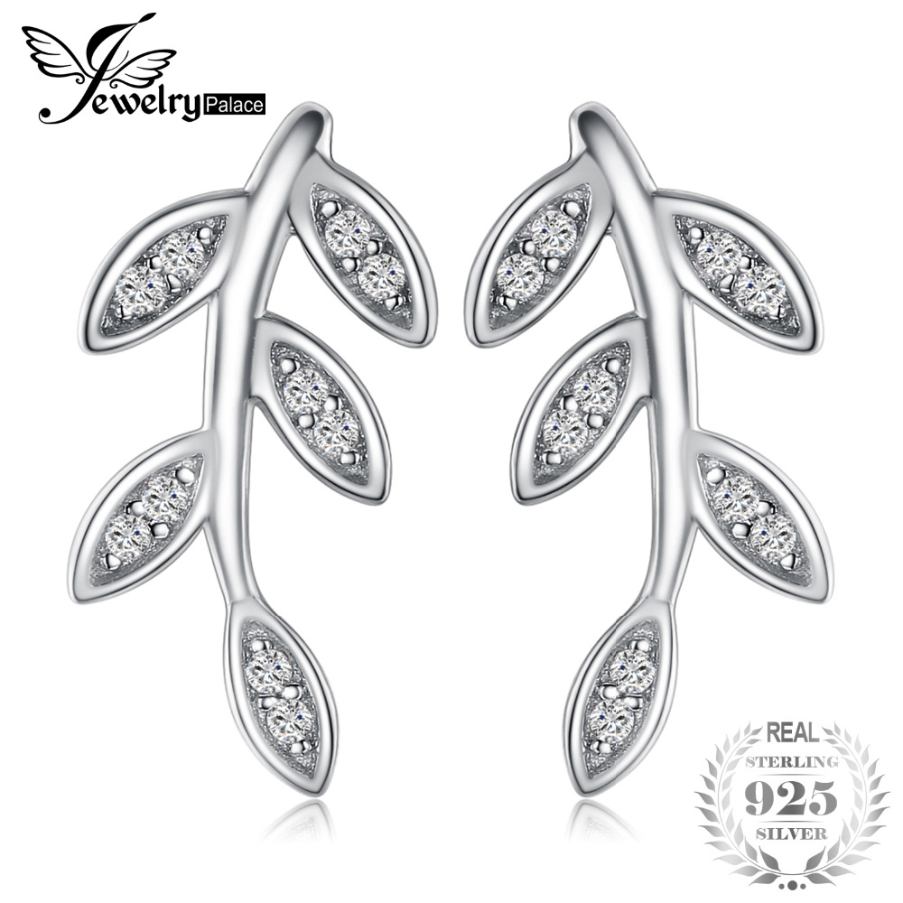 JewelryPalace Glam Leaf Charm Infinity Cubic Zirconia Stud Earrings 925 Sterling Silver Special Gift Jewelry Birthday Gift