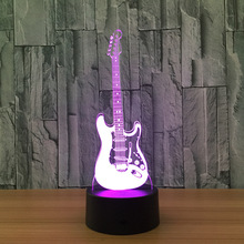 Guitar Night Light 3D Lamp LED 7 Color Change Led USB Remote Touch Switch Indoor Atmosphere Lamp Kids' Toys And Gifts