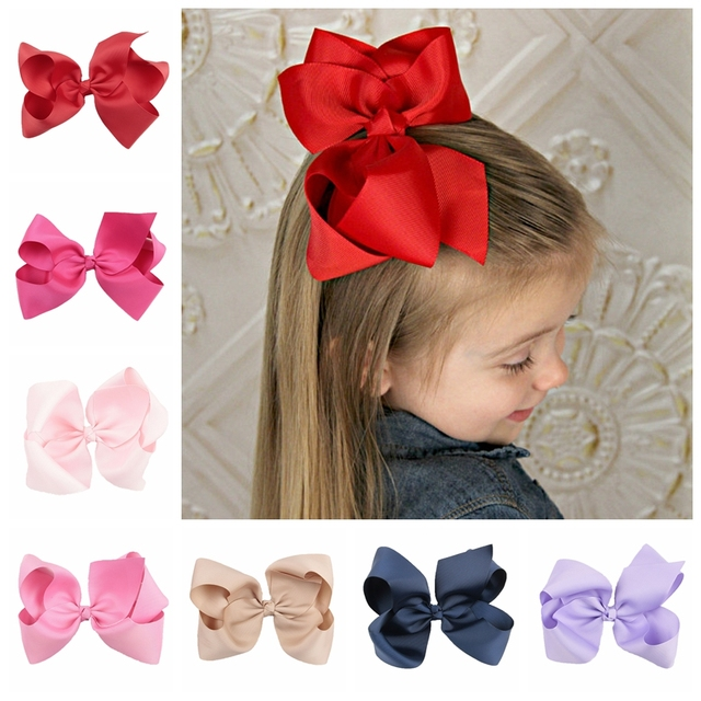 Yundfly 1PCS 6 Inch Big Ribbon Bow Hairpin Baby Girls Bow Clips Kid Hair Clip Boutique Hair Accessories(Color20 Colors)