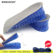 WINRUOCEN Silicone Gel Insoles Man Women height increase insole orthopedic Massaging Shoe Inserts Shock Absorption Shoepad 2 layer 5cm height increase insole eva pigskin insoles gel insole flat foot silicone soles gel orthopedic shoe pad lift increase