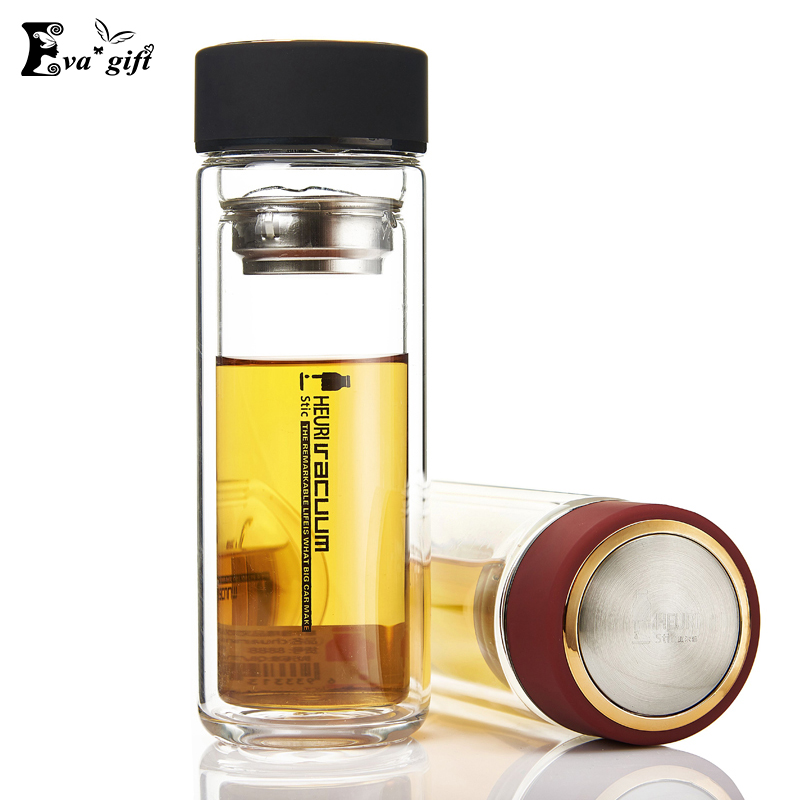 <font><b>Crystal</b></font> Double Glass Water Bottle with Tea Filter tea <font><b>cup</b></font> high-grade glazing Sport bottle Thermal Coffee mug Double Wall Glass