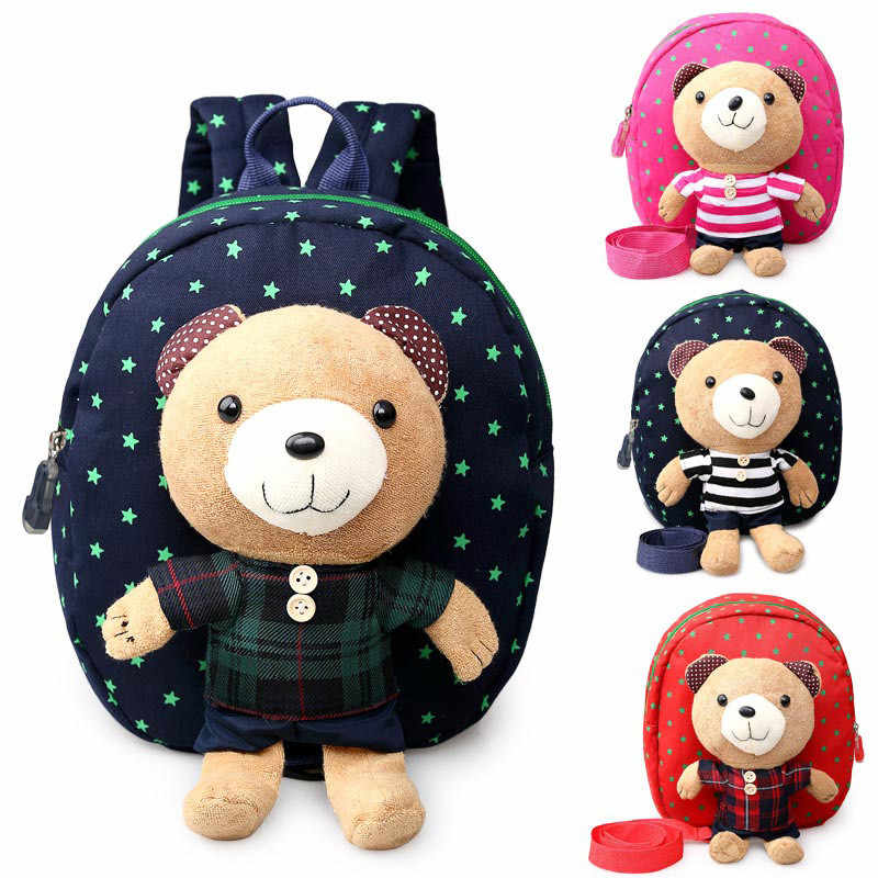 Anti-lost dzieci torby szkolne Cartoon niedźwiedź lalki płótno plecak Mini Baby maluch przedszkola książka torba na ramię plecaki Mochila Infantil