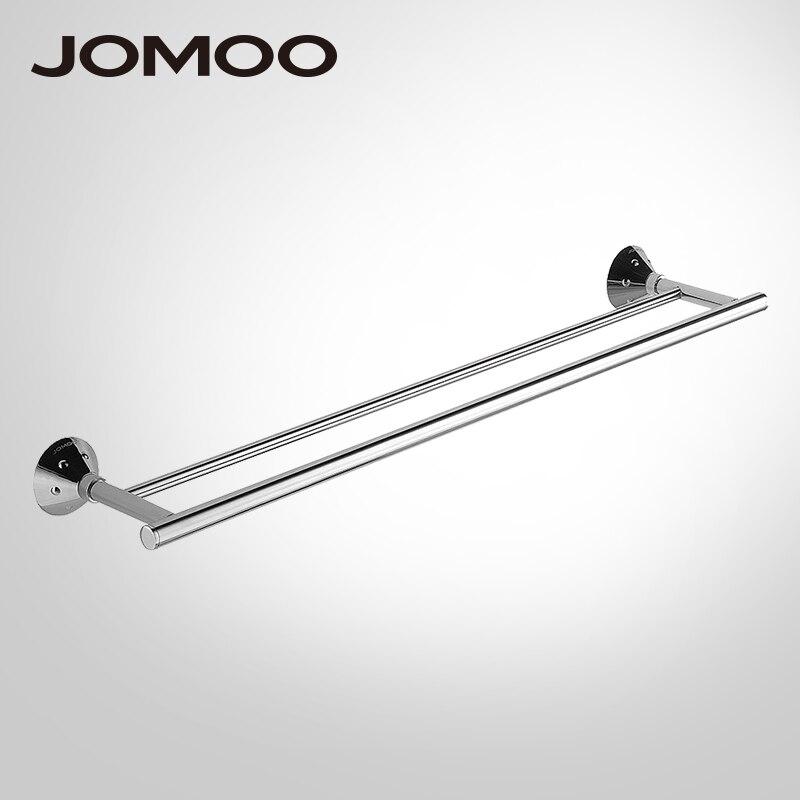 где купить JOMOO Towel Bar Chrome Towel Holder Wall-Mounted Double Towel Bars Bathroom Accessories Towel Hanger 2 bars Shower 933815 по лучшей цене