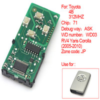 4Buttons Smart Remote Board 312MHz 71 Chip For Toyota RV4 Yaris Corolla 2005 2010 JP 271451