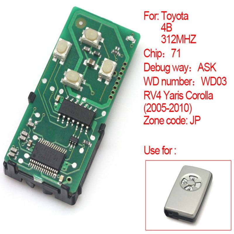4 кнопки Смарт-Дистанционный доска 312MHz 71 чип для Toyota РВ4 Ярис Королла 2005-2010 (СП) (271451-5290) с ключа оболочки