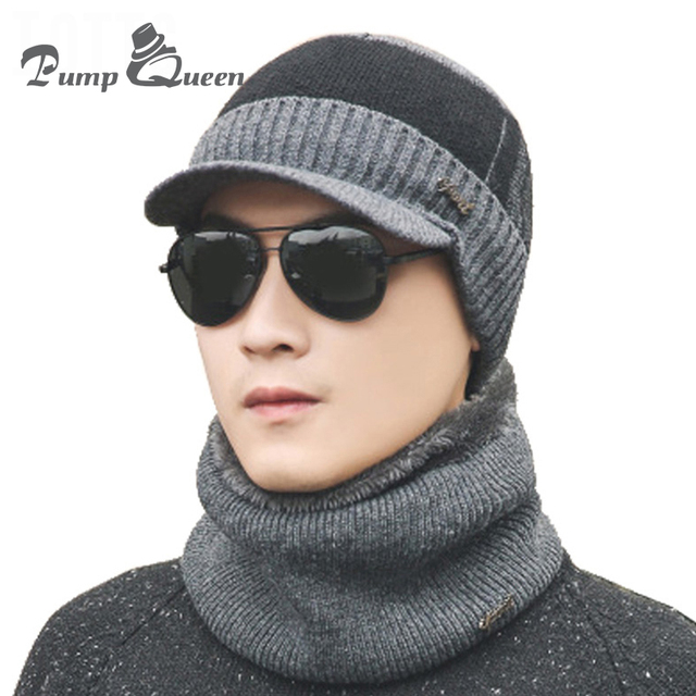 Pump Queen New Men Winter Hats And Scarves Outdoor Ski Beanies Scarf Male  Winter Warm Knitted Hat Men s Fashion Bonnet And Scarf 437e8964367