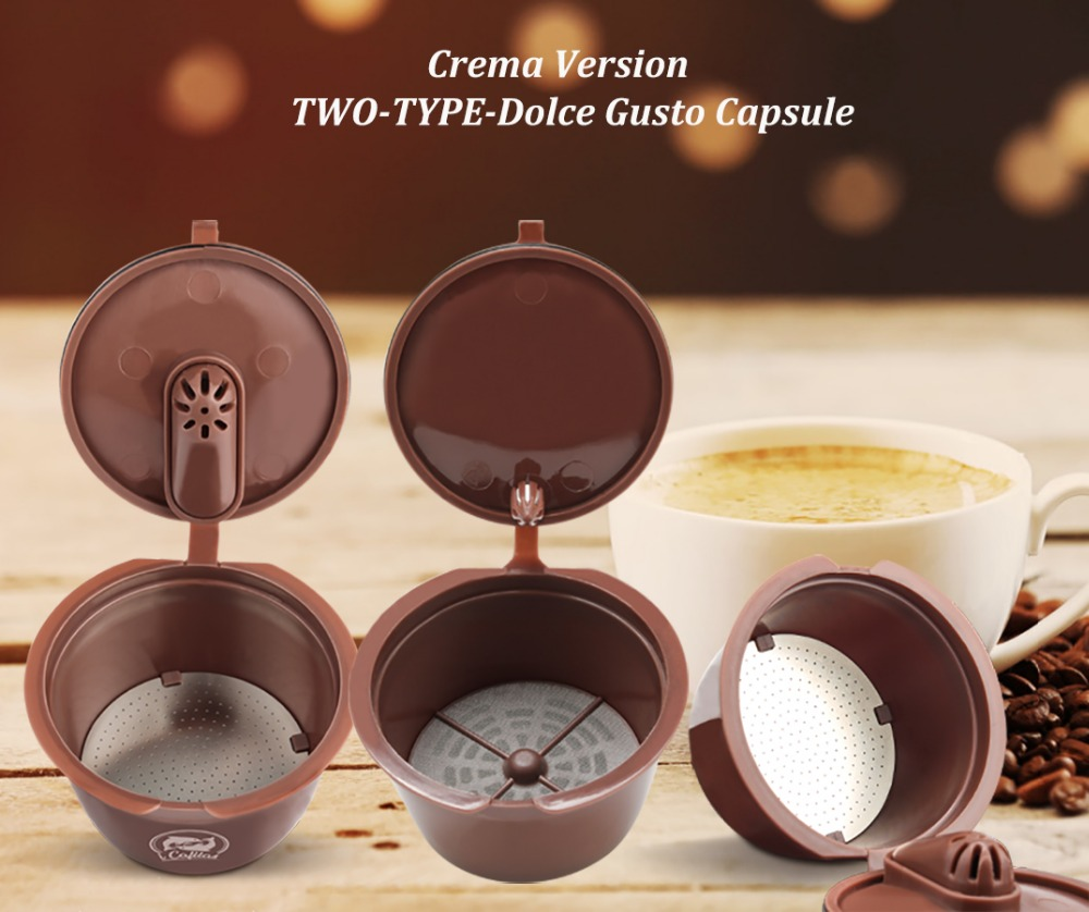 Crema Coffee Capsule Filter Upgrade 3rd Generation Two-type Dolce Gusto Cafeteira Refillable Reusable Coffee Cup Baskets Dripper