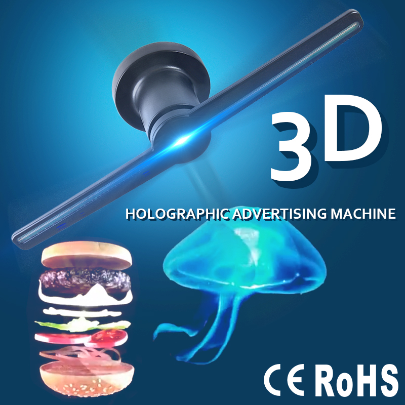 Led Lamps Advertising Display Holographic Imaging 3d Naked Eye Led Display 3d Hologram Fan For Advertising Led Night Lights