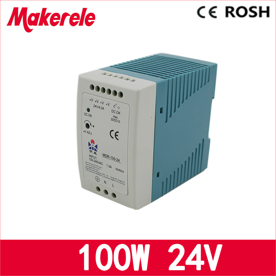 все цены на 24v 100w ac dc power supply MDR-100-24 single output switching Power Supply for led drive