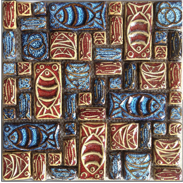 Mosaic Ceramic Tile Patterns Colorful Totem Convex Fish Symbols Art Deco Tiles Kitchen Bathroom Wall