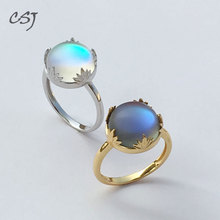 CSJ Aurora Ring Sterling 925 Silver Halo Crystal Color Changes for Woman Femme Lady Party Elegant Fine Jewelry Gift 2018