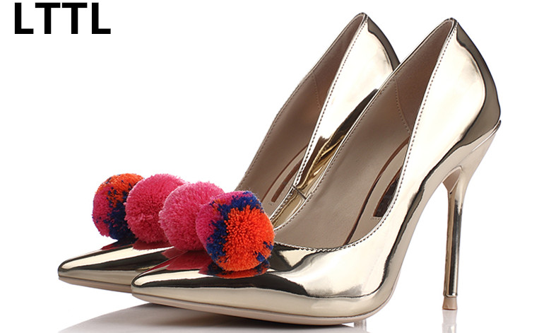 ФОТО Europe Style New Spring Autumn Colorful Pompoms High Heels Fashion Silver Mirror Pointed Toe Women Pumps all-match Banquet Shoes