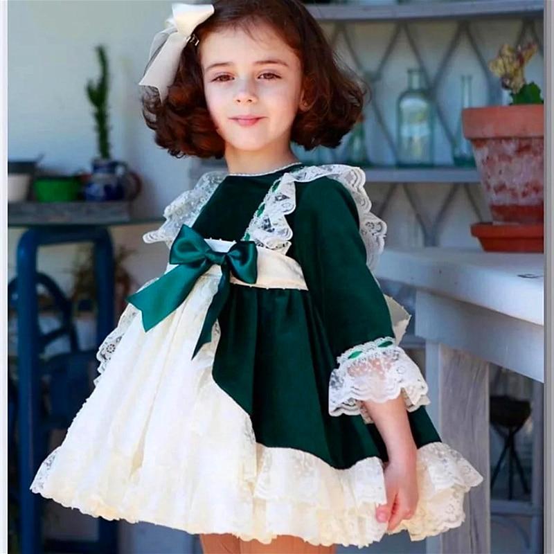 Mode filles de noël robes arc dentelle bébé fille princesse fête Tutu enfants robe de mariée bébé vêtements vert noël espagne Vestidos