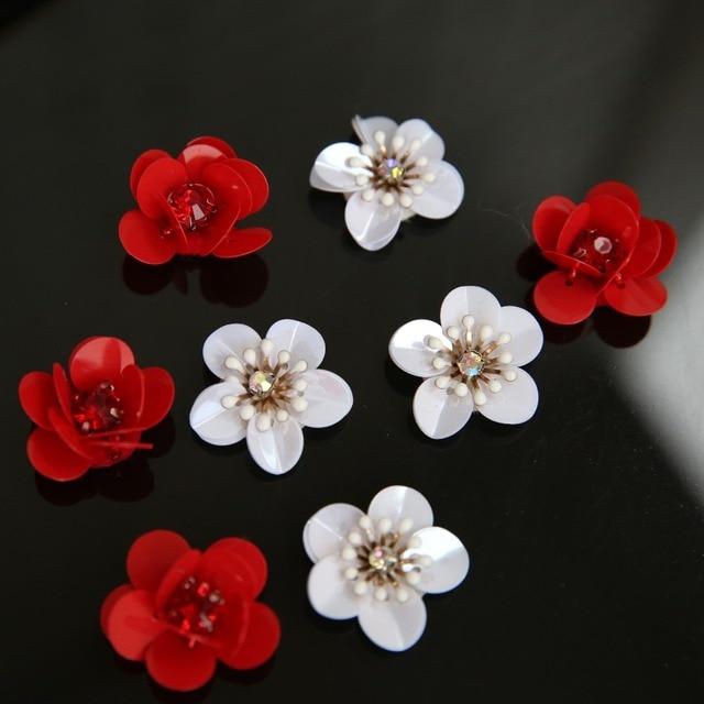 5 Stucke Rot Weiss Blumen Pailletten Perlen Patch Fur Kleidung