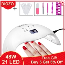 DIOZO SUN X9plus 48W LED Nail Lamp Dryer Manicure Curing with 30s 60s 99s Timer Anti-UV Gloves Gift