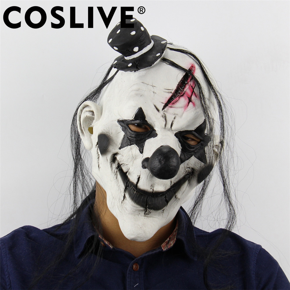 Coslive Christmas Cheap Devil Clown Mask Latex Horror Scary Funny Face Mask Holiday Cosplay Costume Props For Adult Men Women