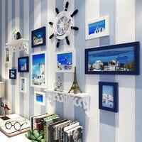 Mediterranean Style 11pcs Picture Frame Set+Rudder+Shelf Home Decor Photo Frame Set Wall Hanging Ornaments Frames for Picture