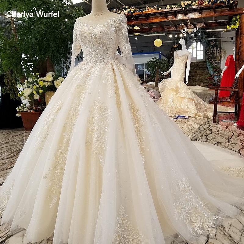 LS36550 vestido de noiva de manga comprida com frisos e lantejoulas o-pescoço organza vestido de noiva 2018 com trem longo como fotos