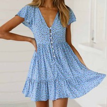 2019 Summer Women Boho Print Dress V-neck Short Sleeve Beach Sexy Mini Ruffled