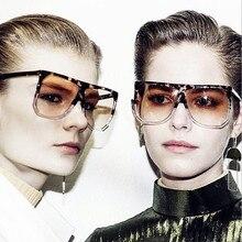MOLGIRL Women Sunglasses Flat Top Hot Square Glasses Vintage Big Frame Sun Glasses Gradient Unique Eyeglasses UV400