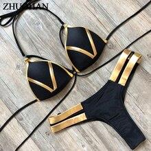 Sexy de oro brillante las mujeres Halter Bikini conjunto sólido Sexy traje de baño de playa de verano traje de baño mujeres acolchado Bikini 2019 nuevo Biquini