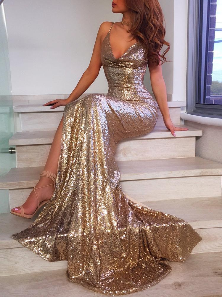 New Style   Prom     Dresses   Long 2019 Sexy Spaghetti Straps High Slit   Dress   Women Evening Party Gown