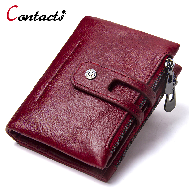CONTACT'S Women Wallets Female Genuine Leather women wallet coin purse small clutch card holder women's purse with zipper New dollar price women cute cat small wallet zipper wallet brand designed pu leather women coin purse female wallet card holder