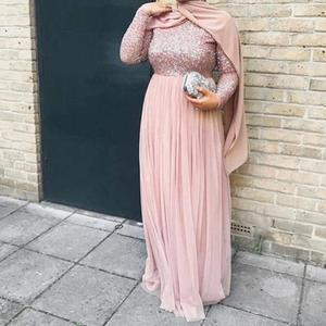 Image 4 - High Quality Elegant Muslim Evening Maxi Dress Cape Slim Muslim Party Dresses