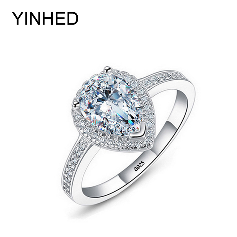 YINHED 100 Solid Silver Ring Jewelry Teardrop Zircon CZ Diamant Engagement Ring Women 925 Sterling Silver