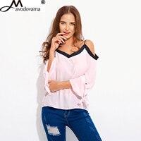 Avodovama M Fashion Casual Long Sleeve V Neck Shirts Sexy Pink Off Shoulder Chiffon Women Blouses