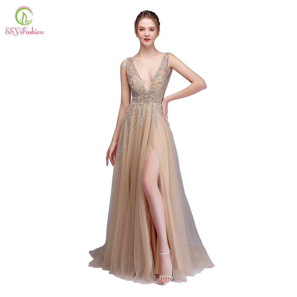 SSYFashion 2018 New High-end   Evening     Dress   Luxury Beading Champagne Sexy V-neck Sleeveless High Split Backless Prom Party Gown