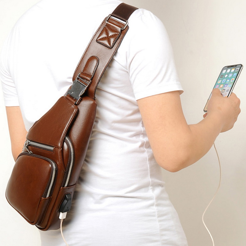 SHUJIN New Luxury PU Leather Large Capacity Men Fashion Chest Bags Outdoor Business Casual Crossbody Bag with USB Charging Port in Crossbody Bags from Luggage Bags