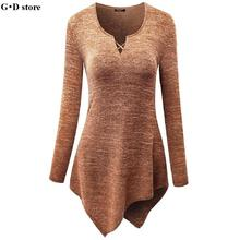 Women Elegant Cotton t shirt V Neck long Sleeve Handkerchief Hem Line Lightweight Knitting Tunic Top T-shirt tees(China)