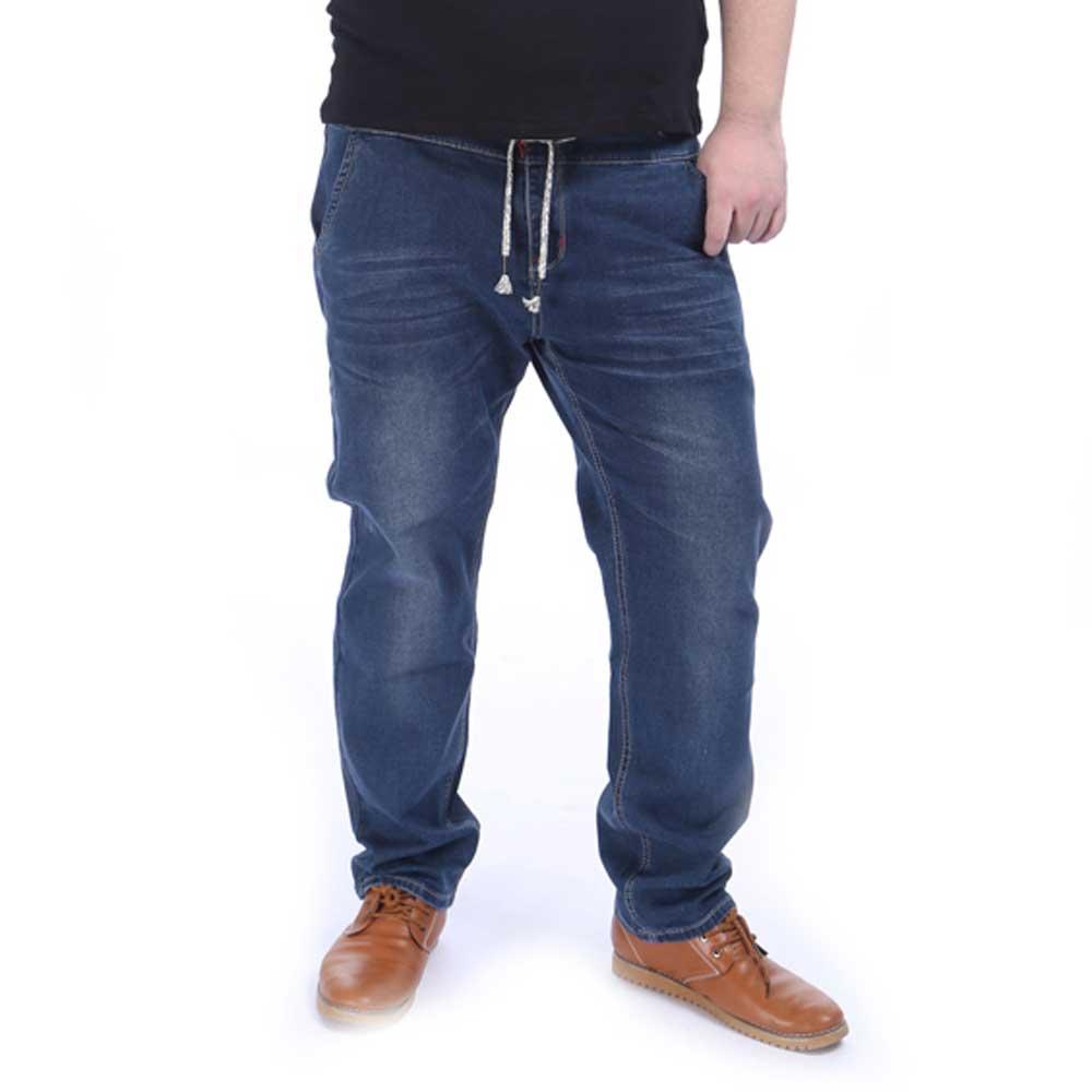 Men s Elastic Waist Straight Jeans Stretch Denim Pants Trousers Handmade Large Plus Size 2XL 5XL